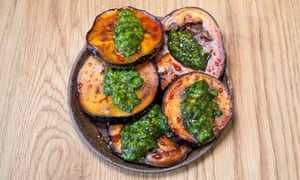 'Long-roasted until the skins are almost crisp and chewy': aubergine.