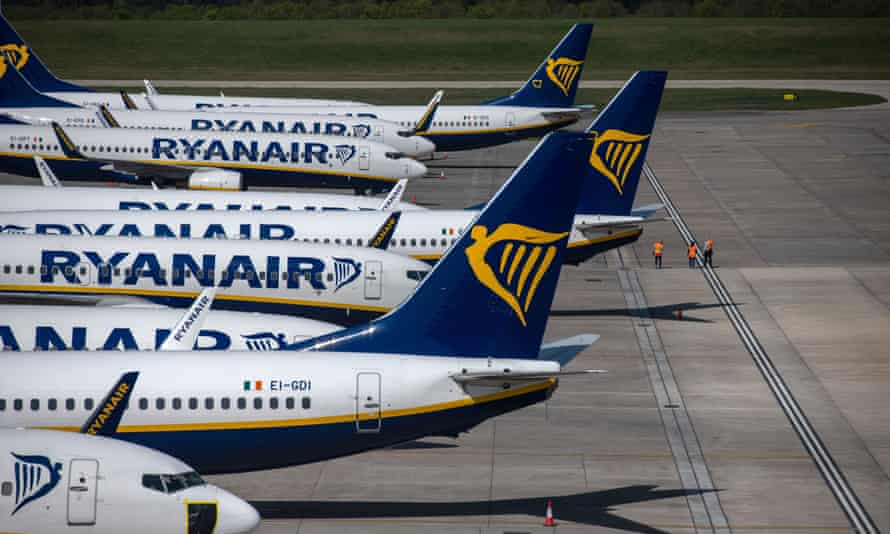 Parked Ryanair passenger aircraft at Stansted airport