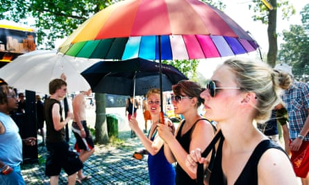 Here comes the sun … festival-goers at Roskilde.