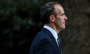 Dominic Raab leaves Downing Street after being appointed Brexit secretary by Theresa May