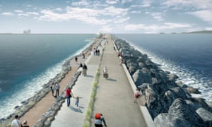 Artist's impression of a visualisation of a six-mile sea-wall with turbines to generate low-carbon electricity at Swansea Bay in south Wales.