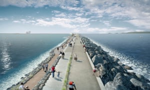 An artist's impression of how the Swansea Bay tidal lagoon would have looked