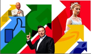 Graphic image including giant multicoloured arrows and photos of three people