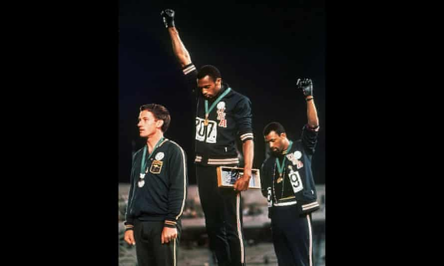 Tommie Smith and John Carlos protest at the Mexico Olympic Games in 1968.