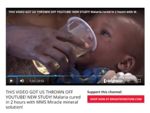 "A screenshot of a video the group has posted which shows a child in Uganda being given a cup of the ""miracle cure""."