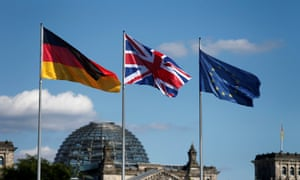 German, British and EU flags fly in front of the Reichstag in Berlin.