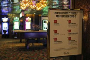 A sign to remind people of coronavirus safety measures on display at the El Cortez hotel and casino as it remains shuttered on 13 May.