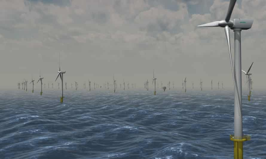 An artist's impression of the windfarm at Dogger Bank in the North Sea.