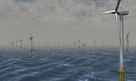 An artist impression of the wind farm at Dogger Bank in the North Sea