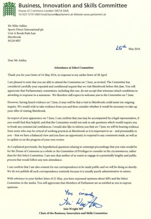 The BIS committee's letter to Mike Ashley