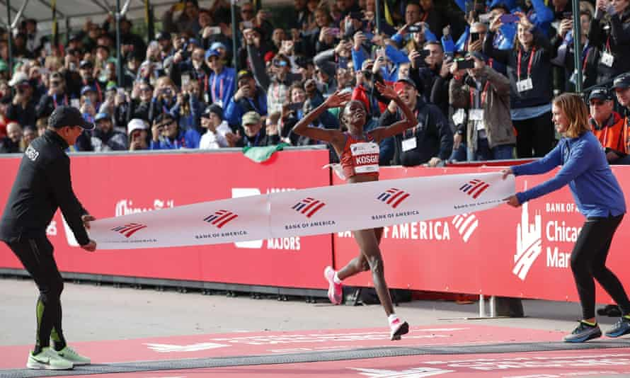 Kenya's Brigid Kosgei crosses the finish line.