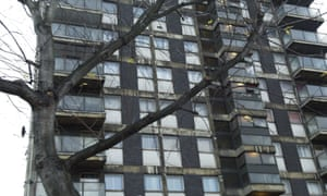 A block of flats, high-rise housing in poor condition, in Whitechapel, Tower Hamlets, east London