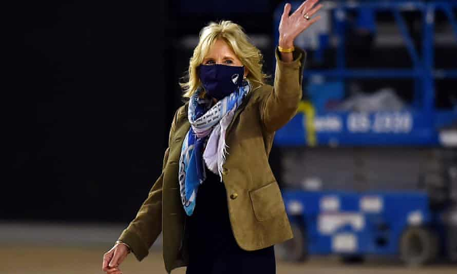 Jill Biden arrives to join operation gratitude to assemble care packages for deployed US troops, on 10 December in Washington DC.