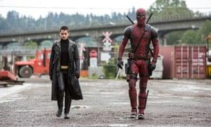 Brianna Hildebrand and Ryan Reynolds in Deadpool.