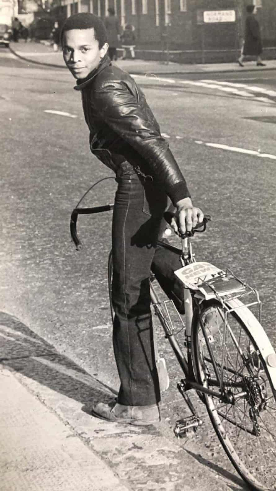 Ted Brown on a bike, early 1970s.