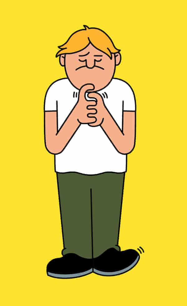 Illustration of a man twiddling his thumbs