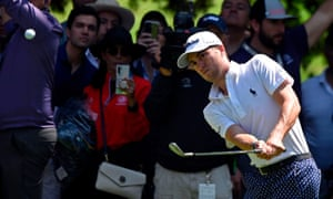 Justin Thomas hits out of the rough on the 1st hole during the third round of the WGC-Mexico Championship.