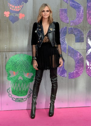 Enchantress chic: Cara Delevingne channels her gothy onscreen alter ego in black velvet sleeves.