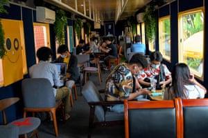 Train cafe in Cambodia.