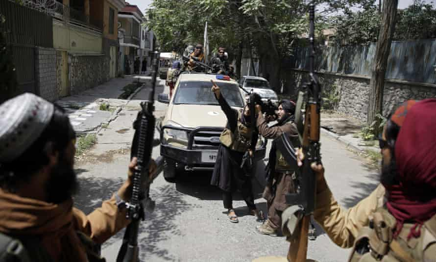 Taliban fighters patrol in Kabul, Afghanistan on Thursday. The Taliban's return is expected to strengthen al-Qaida, Islamic State and other jihadist groups.