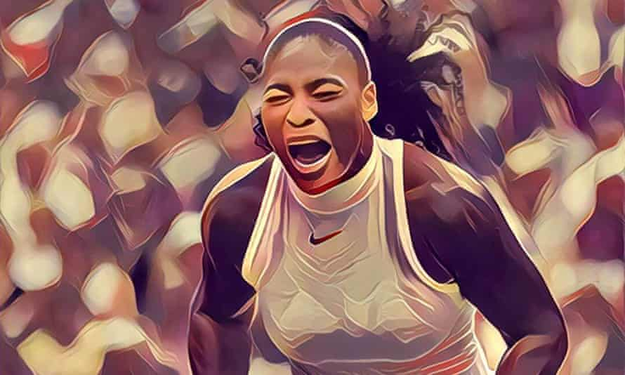 A photo of Serena Williams celebrating her 2016 Wimbledon victory gets the Prisma makeover.