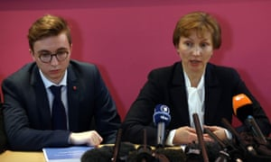 Marina and Anatoly Litvinenko attend a press conference after the findings of the inquiry are made public.