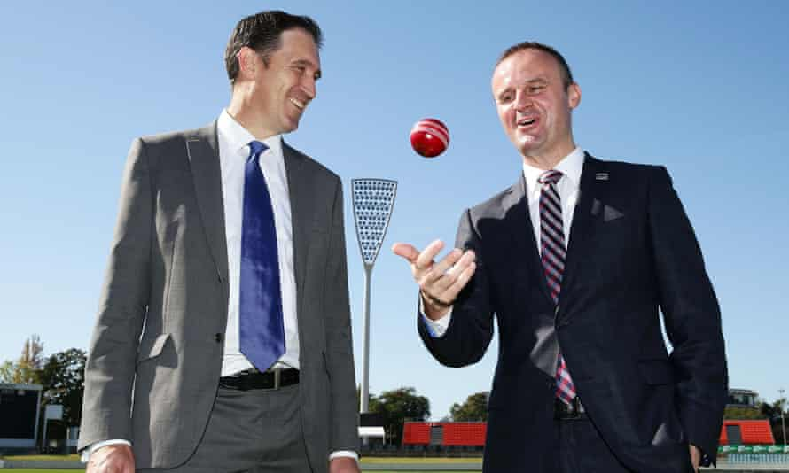 The chief executive of Cricket Australia, James Sutherland, and the ACT chief minister, Andrew Barr, at Manuka Oval