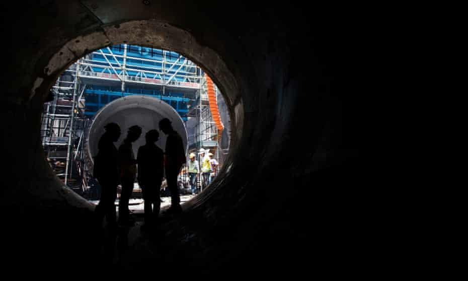 A subterranean sewage tunnel under construction in Hong Kong.