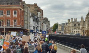 people protesting in cambridge during global climate strike
