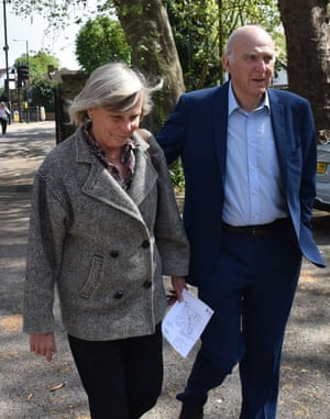 Leader of the Liberal Democrats Vince Cable arrives with his wife Rachel at Twickenham polling station to vote in the local elections.