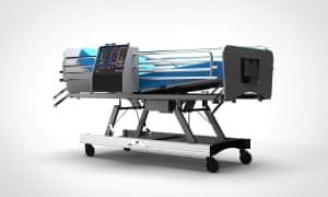 A graphic representation of CoVent ventilator attached to a hospital bed.