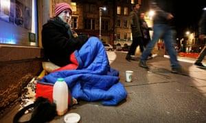 Homeless woman on the streets of Edinburgh