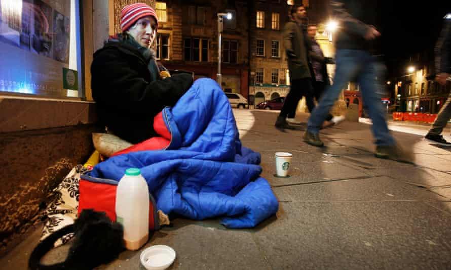 A homeless woman in Edinburgh