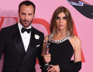 """'Tom Fold told me: """"Oh, you do not have a good angle Carine""""': Ford and Roitfeld at CFDA Fashion Awards, New York, 3 June 2019."""