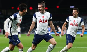 Gareth Bale of Tottenham Hotspur celebrates with teammates after scoring.
