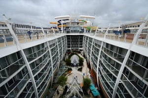 The upper deck of the Harmony of the Seas cruise ship