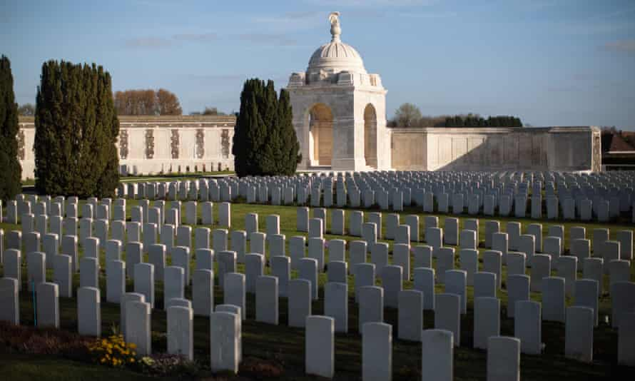 Rows of headstones at Tyne Cot cemetery in Zonnebeke, Belgium, where almost 12,000 men are buried