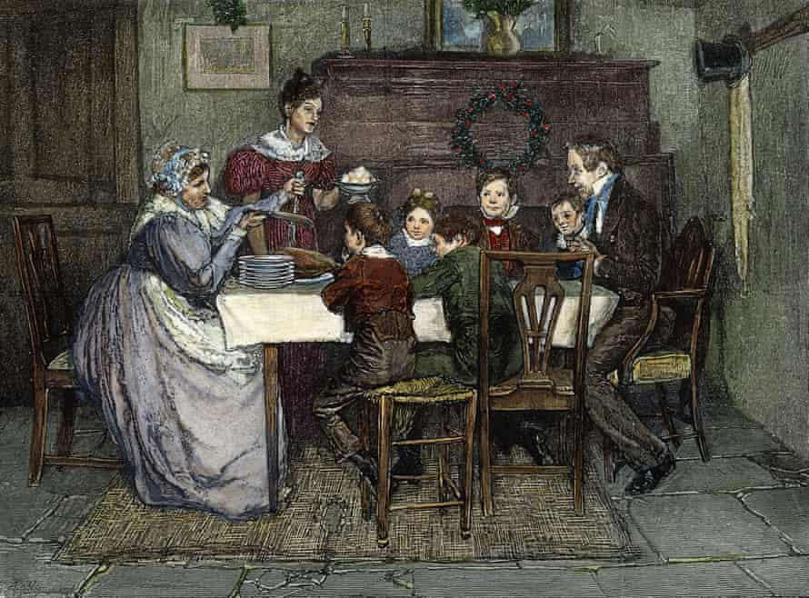 An 1843 illustration of the Cratchits' Chrsitmas dinner.