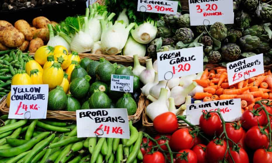 Vegetable stall at Borough market