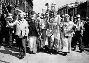 Blackpool fans roam the streets of London before the game.