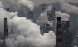 Emissions from a coal-fired steel factory in China