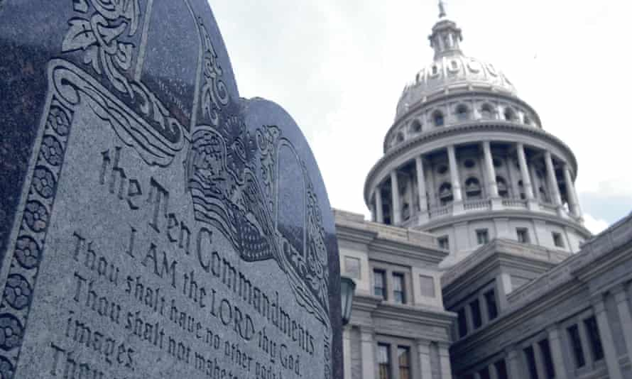 A monument bearing the Ten Commandments stands near the capitol building in Austin, Texas.