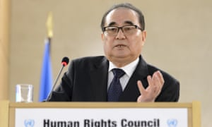 The North Korean foreign minister, Ri Su-yong, addresses the 31st session of the UN Human Rights Council in Geneva on Tuesday.