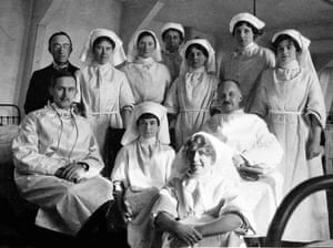 Ruby Chapman (at the front) with fellow nurses and doctors.