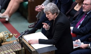 Theresa May at Prime Minister's Questions in the House of Commons.