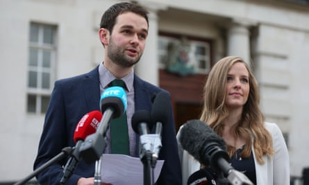 Daniel and Amy McArthur of Ashers Baking Company outside Belfast high court on Monday