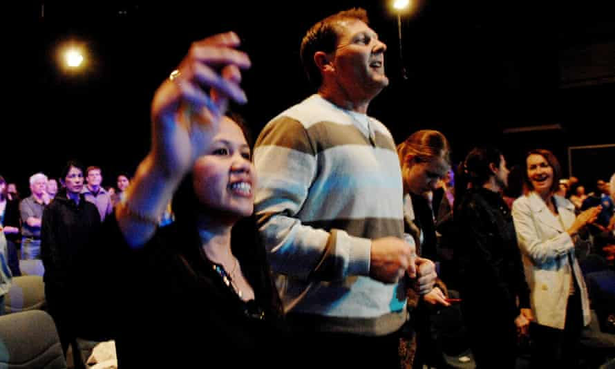 File photo of Hillsong church members at a service in Sydney