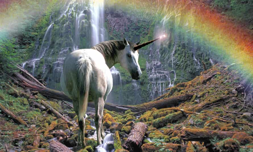 Spiral horned Unicorn and waterfall with rainbow