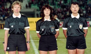 The first Fifa all-female referee team line up before the third-place play-off between Sweden and Germany. The officials are Linda Black of New Zealand (left), Claudía de Vasconcelos from Brazil and Zuo Xiudi of China.