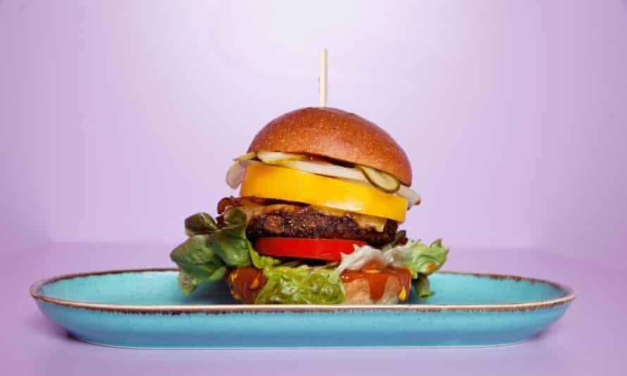 """Crunch"" vegan burger from Doppleganger Burger restaurant in Cambridge, England."